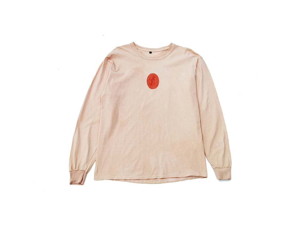 Image of BROSKI - HAND DYED MEDALLION EMBROIDERED LONG SLEEVE CORAL
