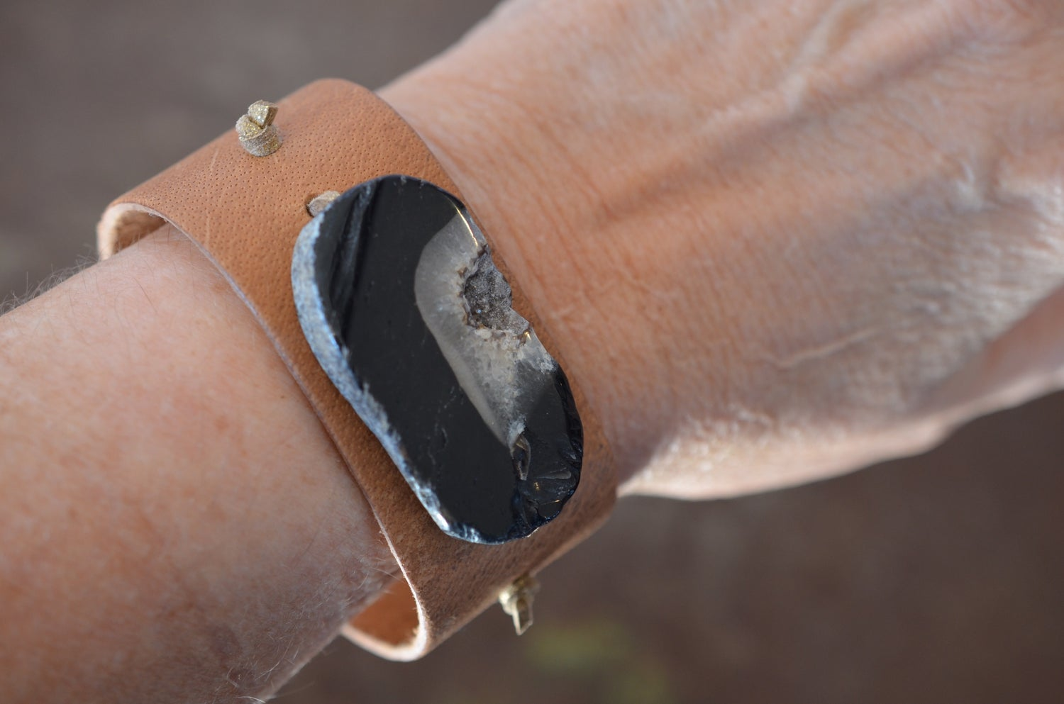 Image of Agate Leather Cuff