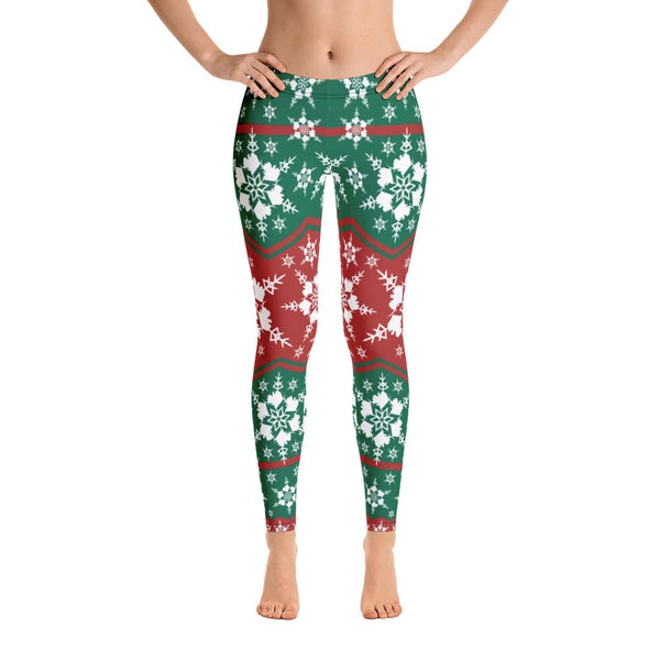 Image of AK Snowflake Leggings - Green/Red