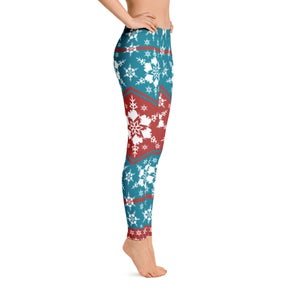 Image of AK Snowflake Leggings - Teal/Red