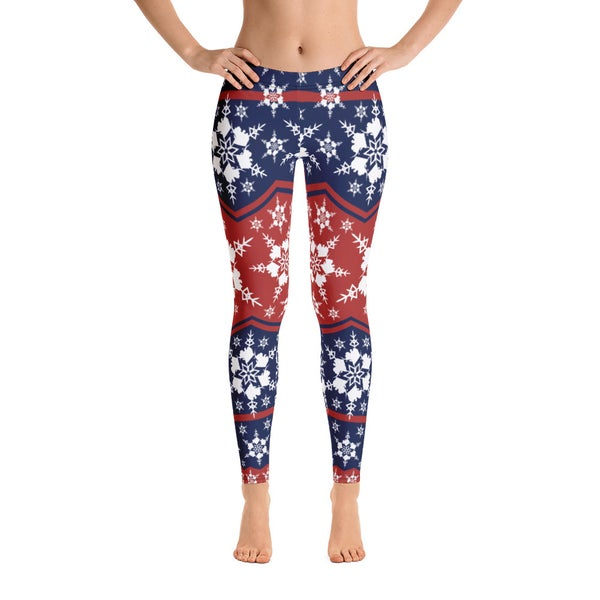 Image of AK Snowflake Leggings - Blue/Red