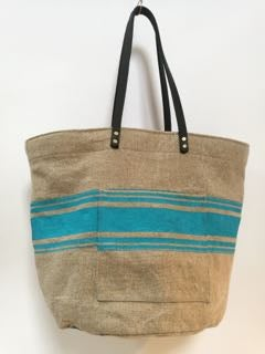 Image of Linen tote bag with leather handles