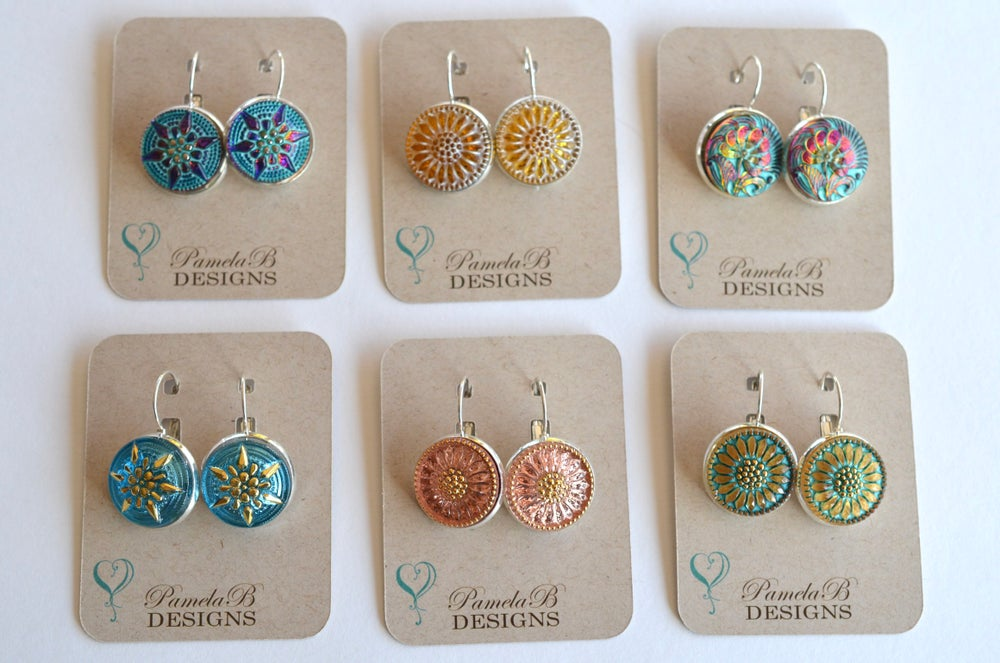 Image of Czech Glass Button Earrings