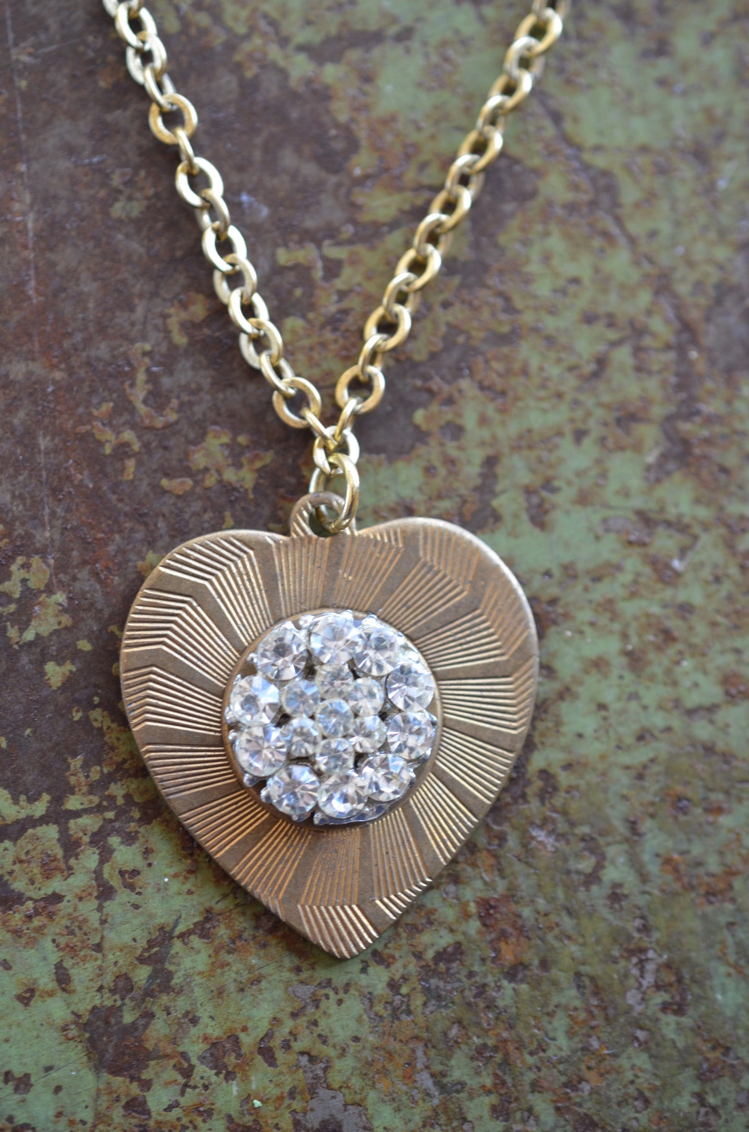 Image of Vintage Brooch Heart Necklace