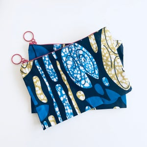 Image of Travel Pouch - Navy Blue/Tan
