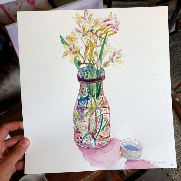 "Image of ""Freesias from the Paddock"" original watercolour"