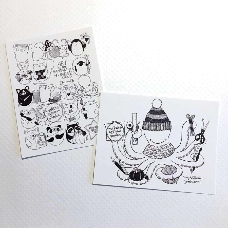Image of craft happy animals // craftopus color-your-own postcards