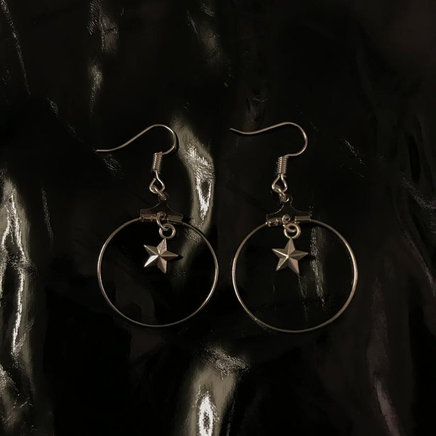 Image of star hoop earrings