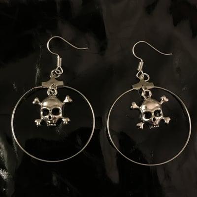 Image of skull hoop earrings
