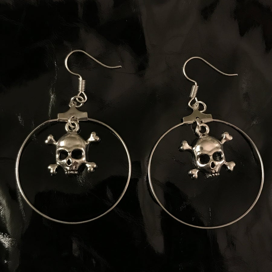 Image of skull hoop earrings