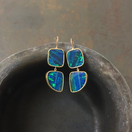 Image of One of a Kind Double-Hung Australian Opal Earrings 18/22K