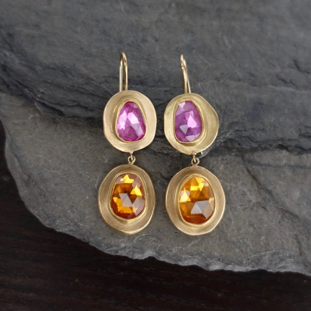 Image of Double Hung Color Sapphire Earrings