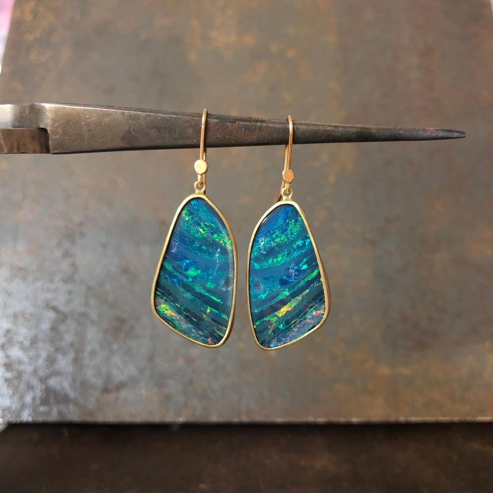 Image of One of a Kind Bright Blue Australian Opal Earrings