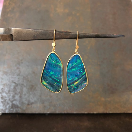 Image of One of a Kind Bright Blue Australian Opal Earrings