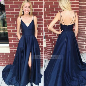 Image of Sexy Spaghetti Strap Navy Blue V-Neck A-line Satin Long Prom Dress, Dark Blue Evening Gown