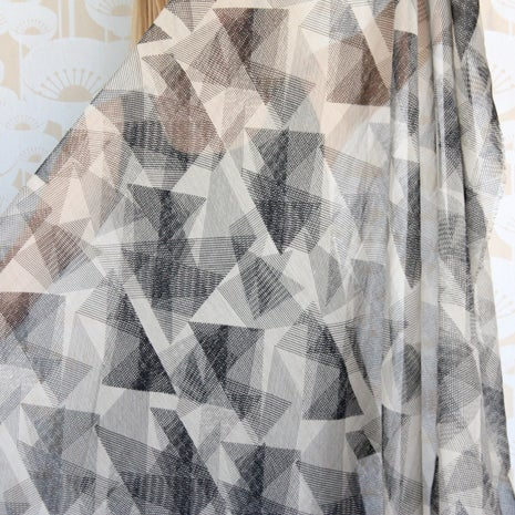 Image of Origami Print Silk Cotton Scarf