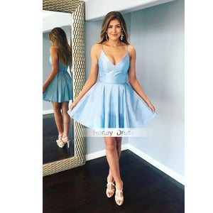 Image of Simple Spaghetti Strap Sky Blue V-Neck Ball Gown Party Dress, Light Blue A-Line Cocktail Dress