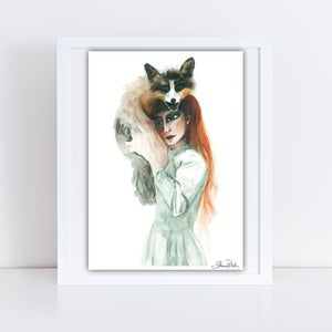 "Image of ""Girl and her Fox"" An Original Drawing UNFRAMED"