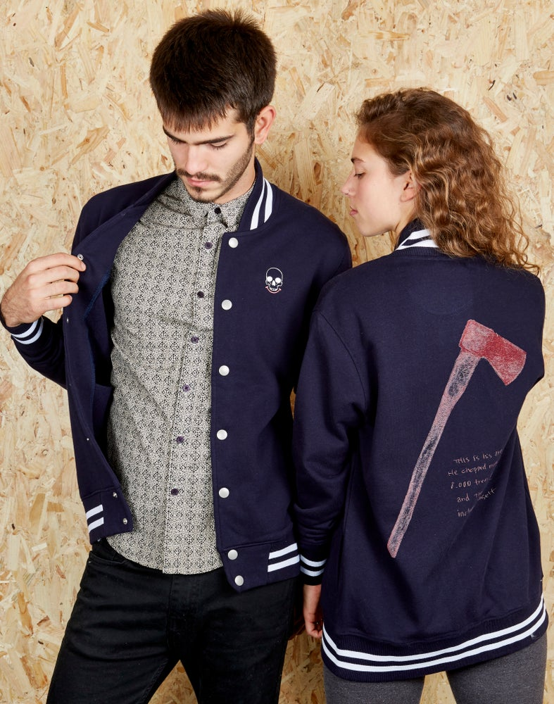 Image of Axe Navy Striped Varsity Jacket (Organic)