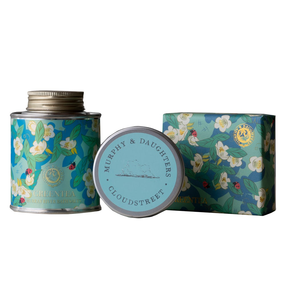 Image of Murray River Bath Salt and Soap in Green Tea with a Cloudstreet travel candle Gift Set