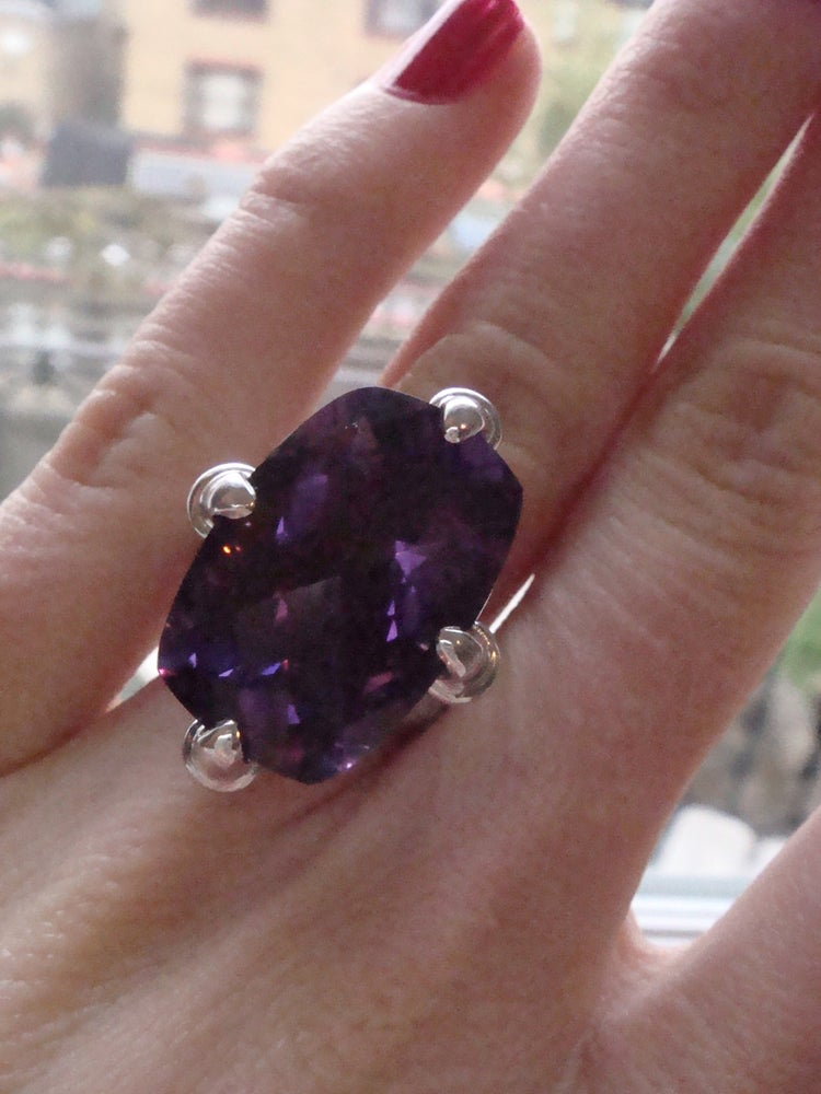 Image of Handmade 18ct white gold designer amethyst 18ct and diamond 3.50ct claw ring
