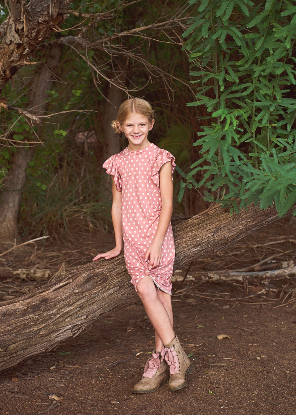 Image of Baby/girls • Coral Polka • Knotted Pleated Sleeve