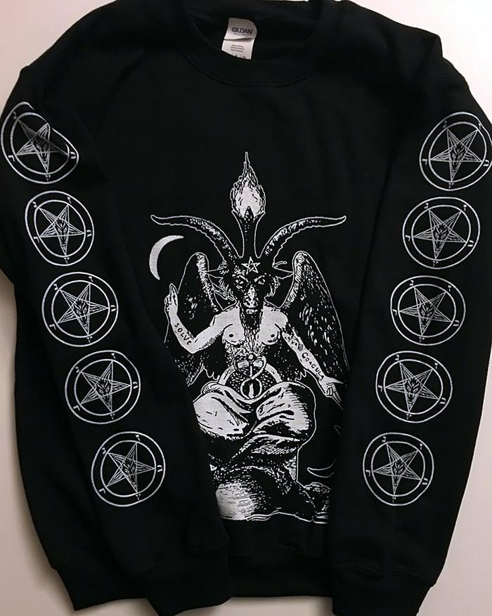 Image of Baphomet -  Sweatshirt with Pentagram Sleeve prints