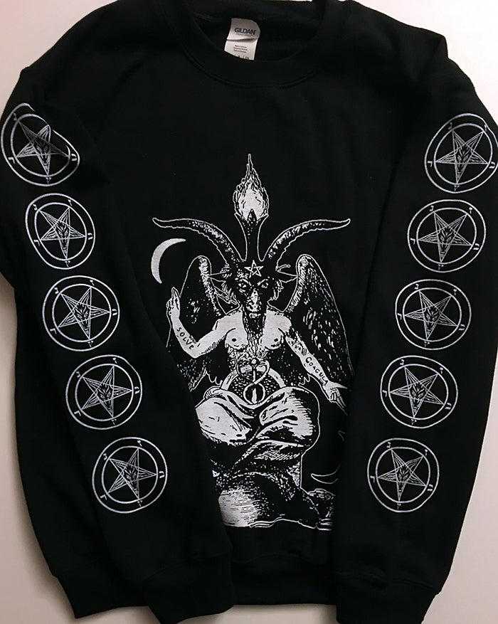 Image of Baphomet -  Sweatshirt with Pentagram Sleeve prints