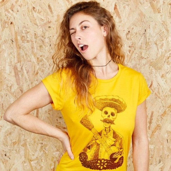 4892afccd2126 Image of Day of the Dead Girls Gold Roll Sleeve T-Shirt (Organic) ...