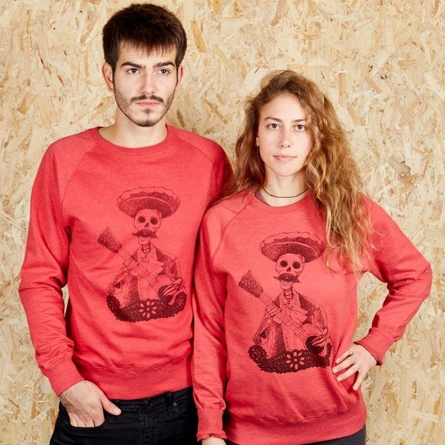Day Of The Dead Red Unisex Sweatshirt (Recycled)