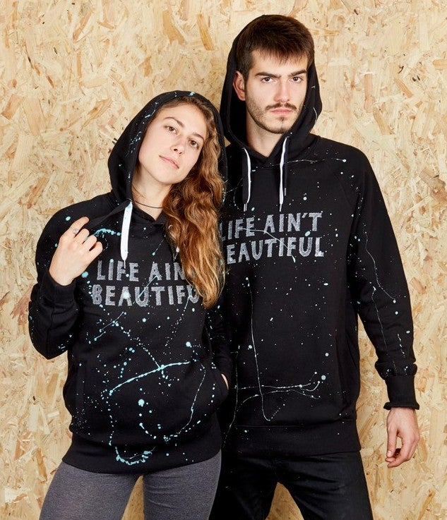 Image of Life Ain't Beautiful Unisex Black Hoodie (Organic)