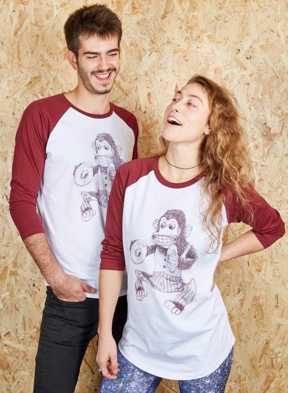 Monkey Unisex White/Red Baseball T-Shirt (Organic)