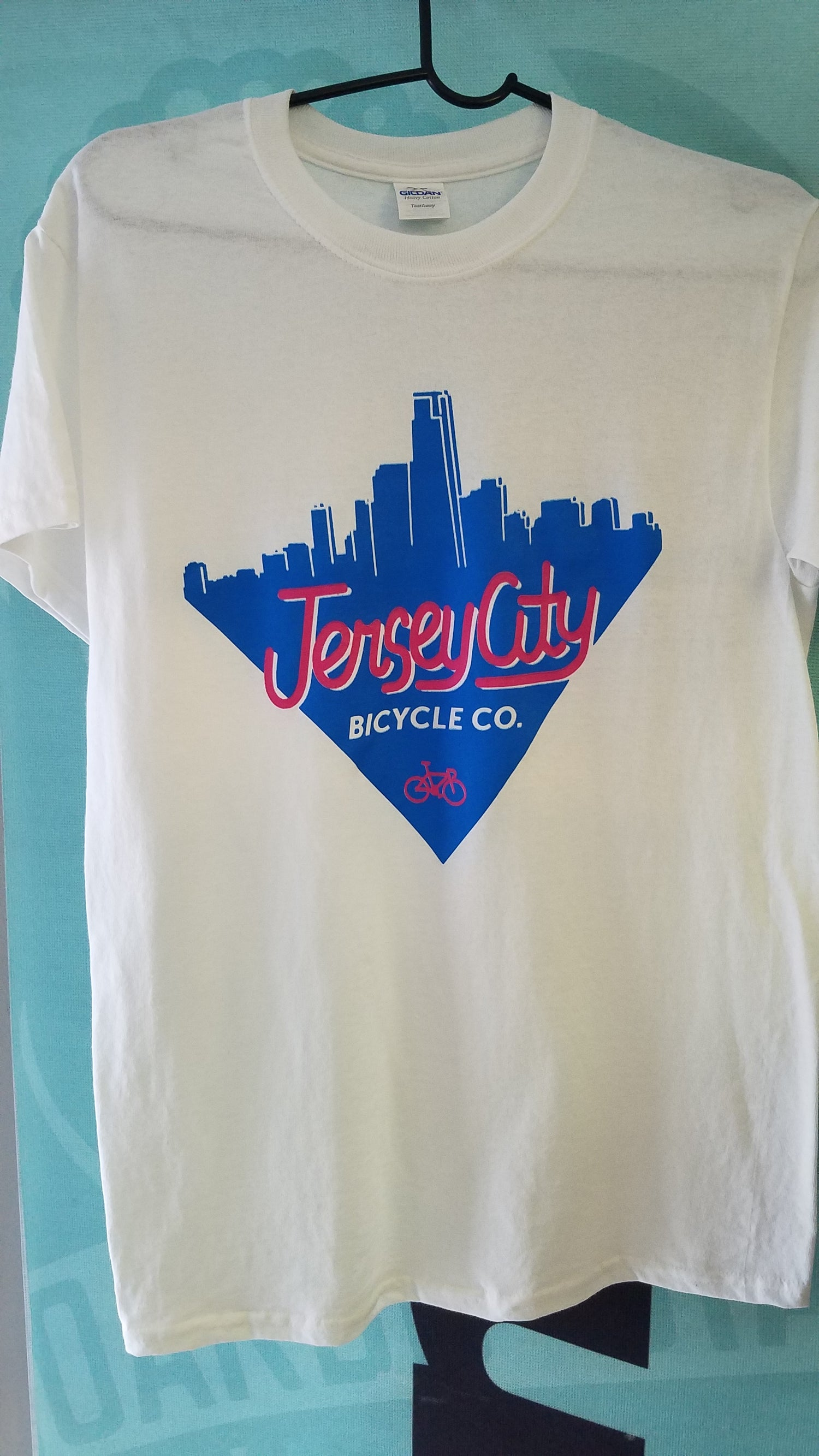Image of Jersey City Bicycles Metro Skyline T-shirt White