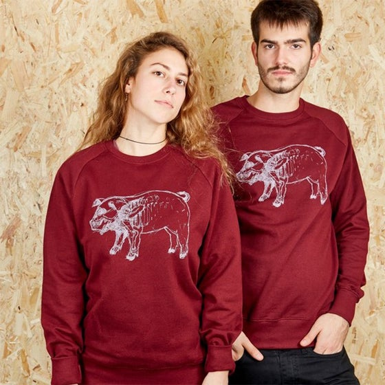 Image of X-Ray Higgy Pig Burgundy Sweatshirt (Organic)