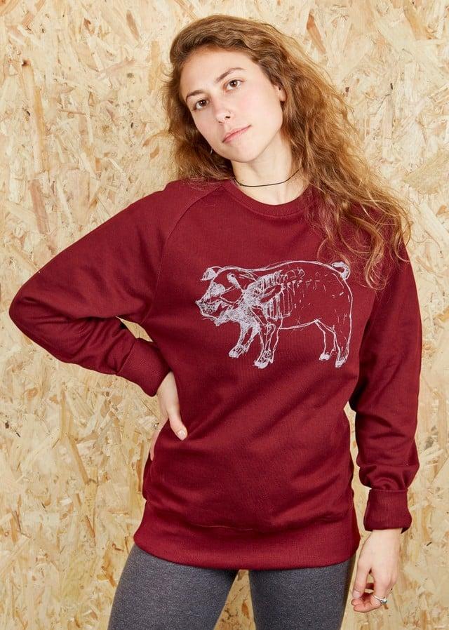X-Ray Higgy Pig Burgundy Sweatshirt (Organic)