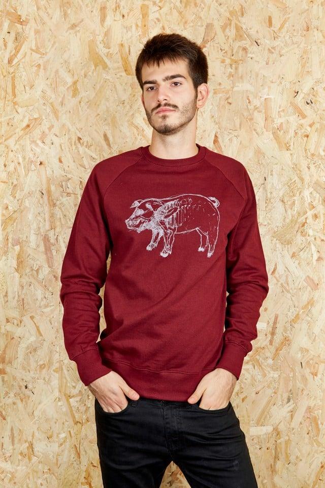 Image of Piggy Burgundy Sweatshirt (Organic)