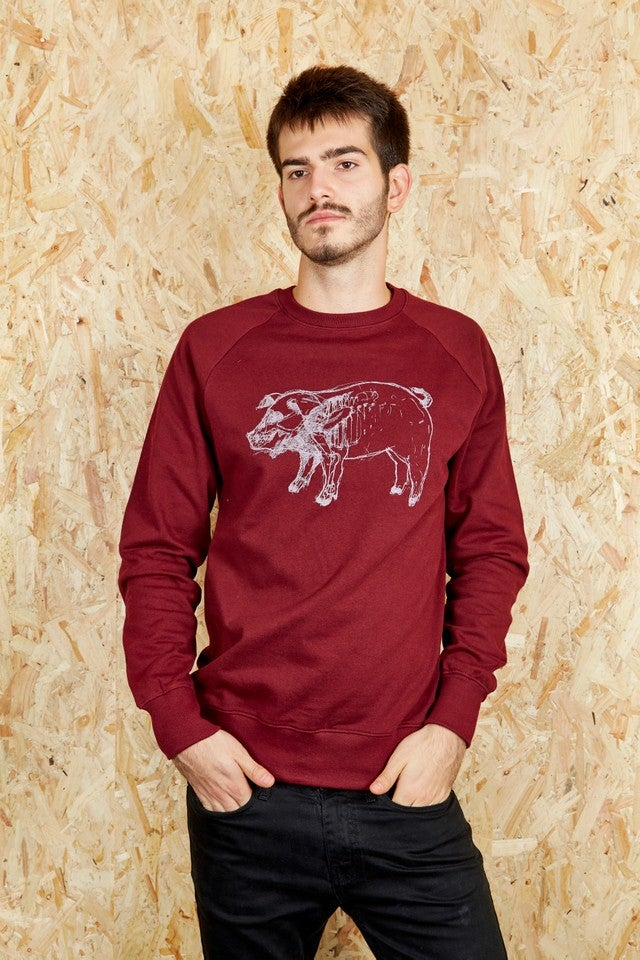 X-Ray Higgy Pig Burgundy Unisex Sweatshirt (Organic)