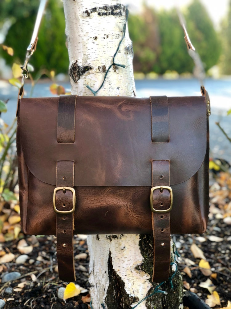 """Image of """"Wheat Harvest"""" - Leather Satchel Bag w/seam in"""