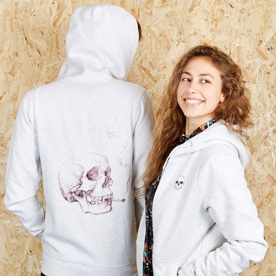 Image of Smoking Skull Back Print Light Grey Zip Up Hood