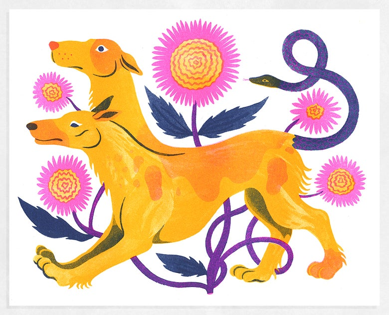 """Image of """"Cerberus"""" Riso Print, All Proceeds Support LGBTQ Freedom Fund"""