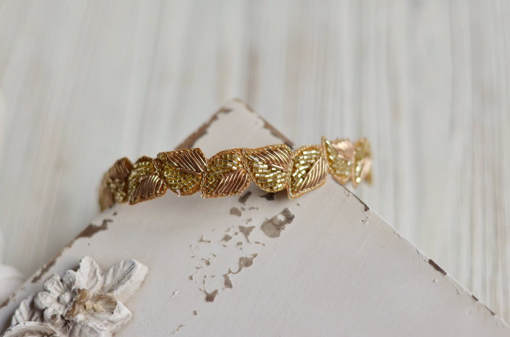 Image of Leaves and beads headband (gold)