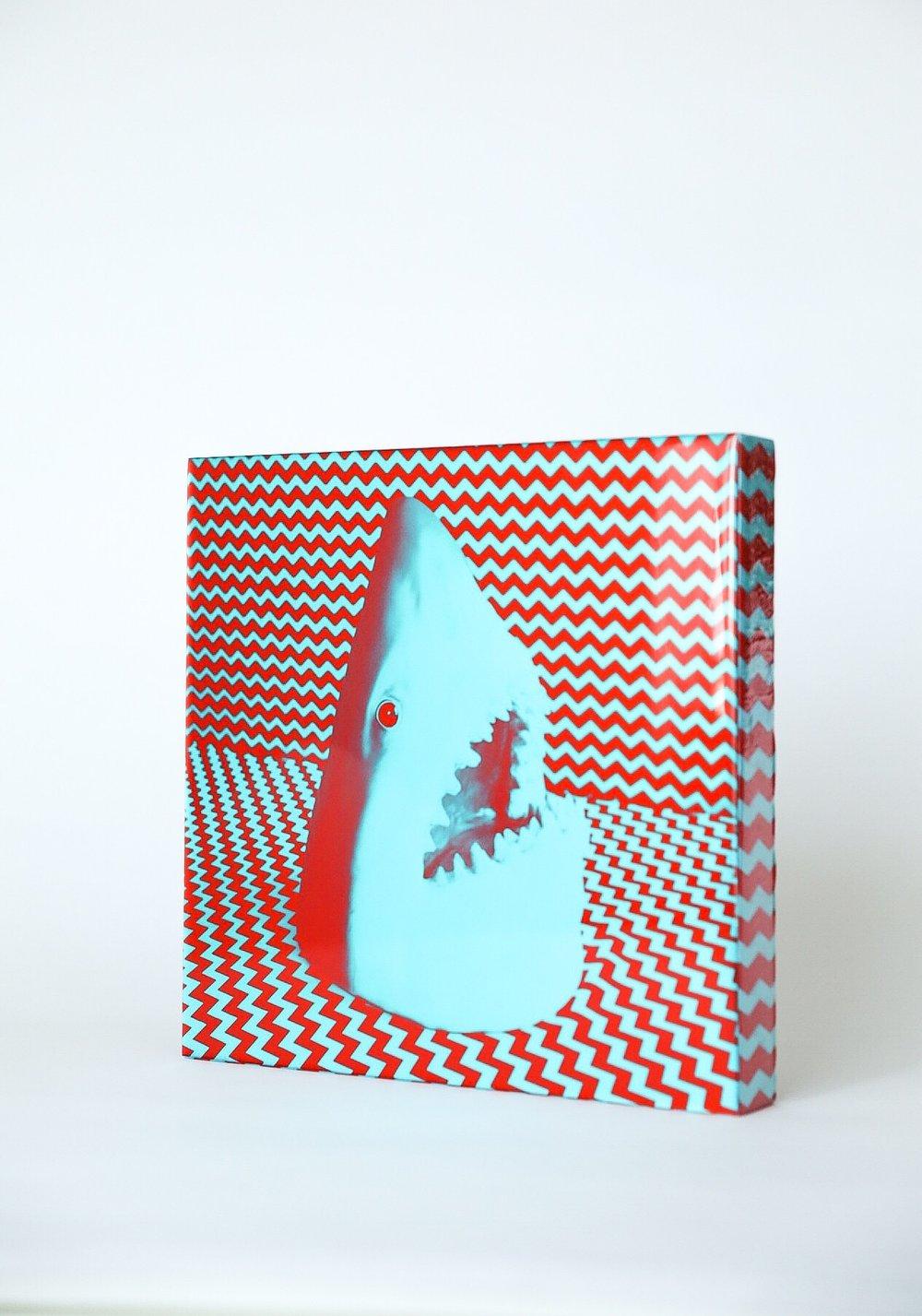 Image of shark print on wood 12X12 - 1 of 3
