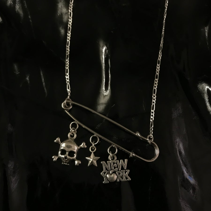 Image of custom safety pin charm chain
