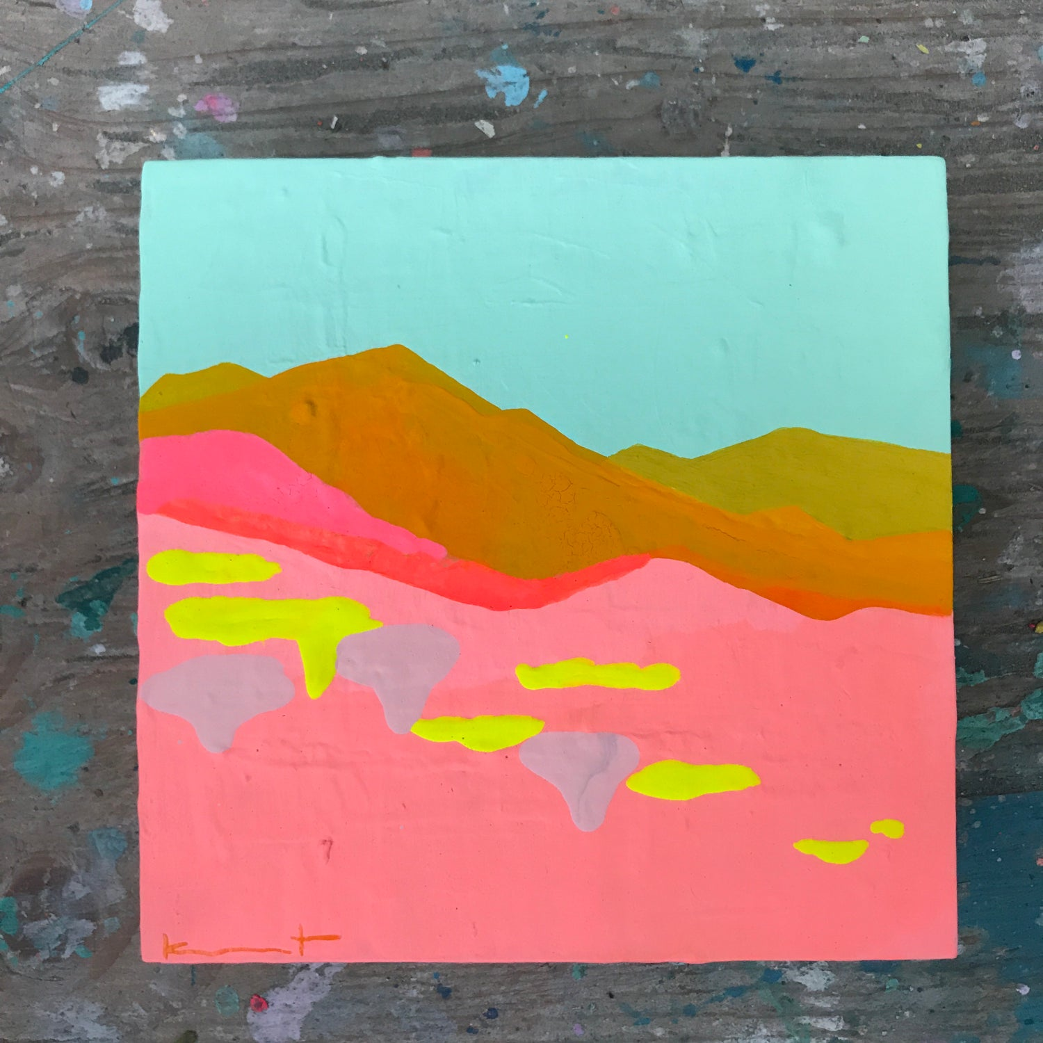 Image of tiny painting no. 79 (mint, marigold, neon sun)