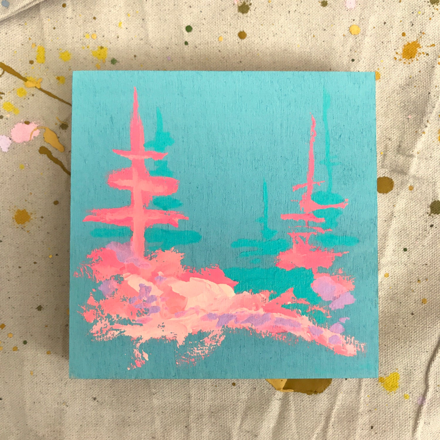 Image of tiny painting no. 83 (pool, lake enchanto pink)