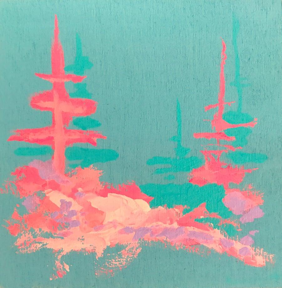 Image of tiny painting no. 83 (pool, lake enchanto pink)