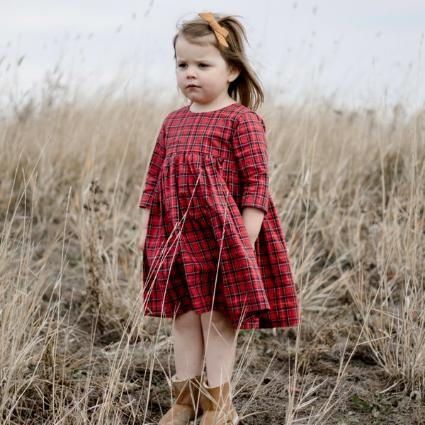 Image of Cranberry Plaid Mini Dress
