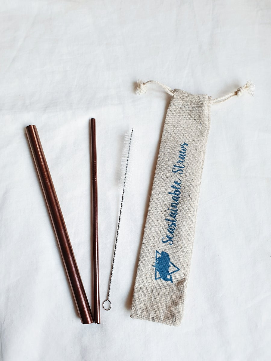 Image of Seastainable Rose Gold Straw Set (with one cleaner)