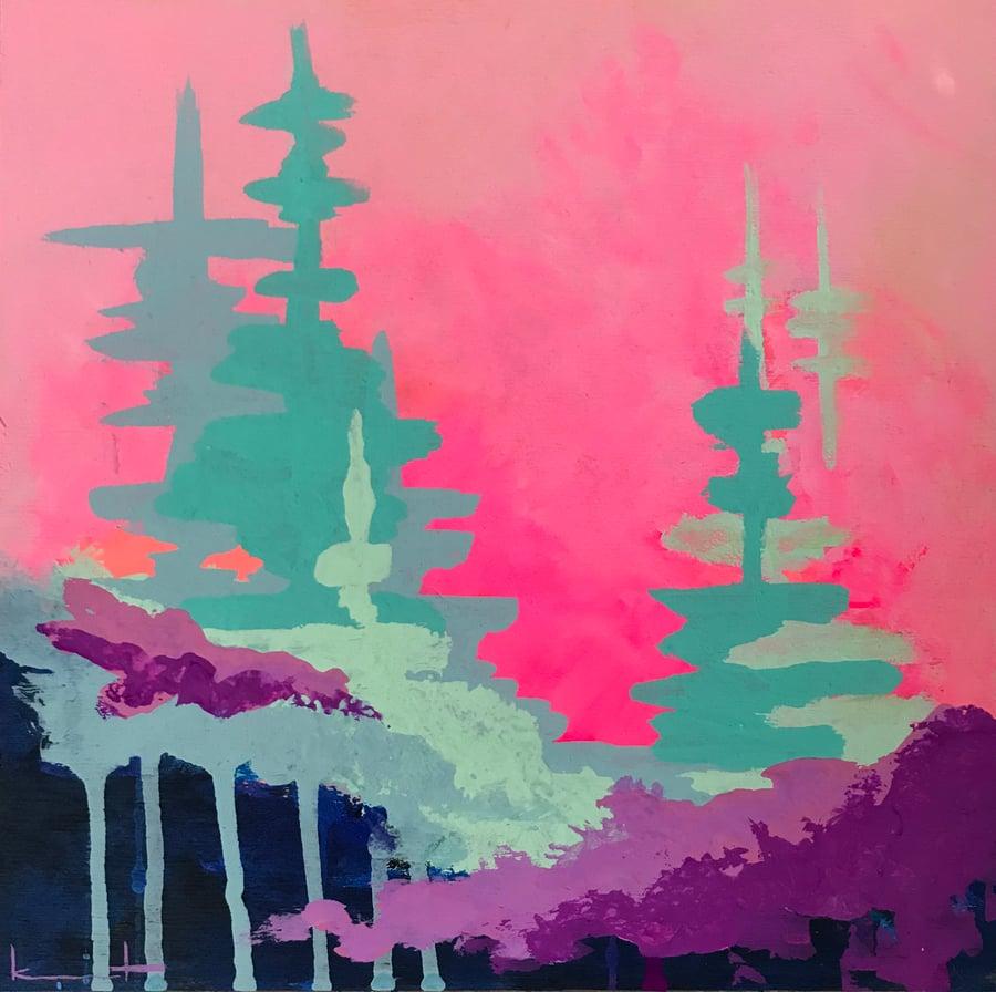 Image of Pink Night Sky No. 23 (neon opera, violet, gulf)