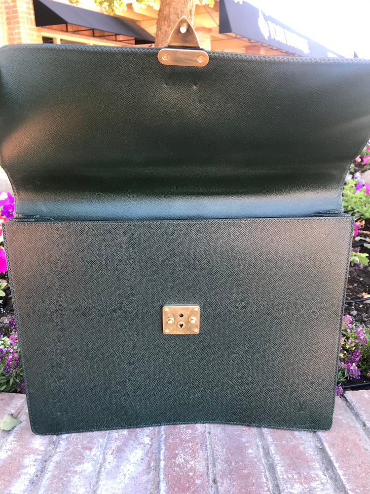 Image of Vintage Louis Vuitton Green Taiga Leather Serviette Kourand Briefcase